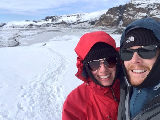 Rachel and Devin on the Solheimajokull glacier