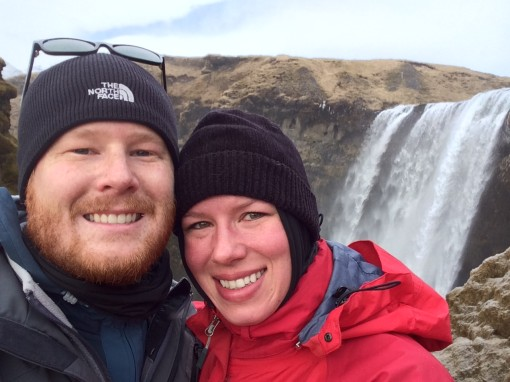 Devin and Rachel at Skógafoss