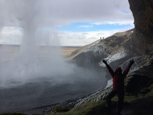 Rachel behind Seljalandsfoss