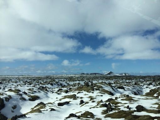 Volcanic landscape in Iceland near Blue Lagoon